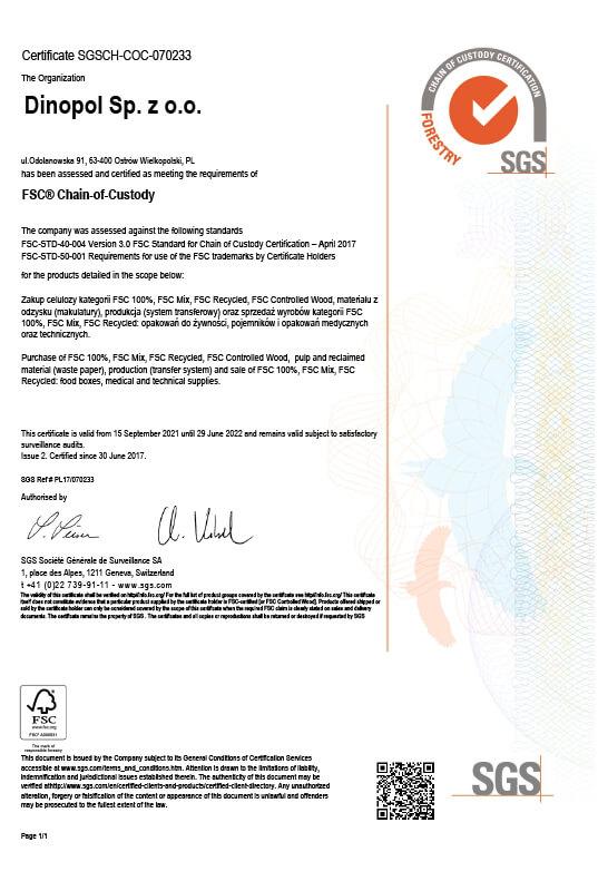 DINOPOL - FSC certificate