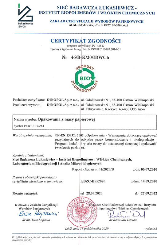 DINOPOL - certyfikat zgodności biodegradacja