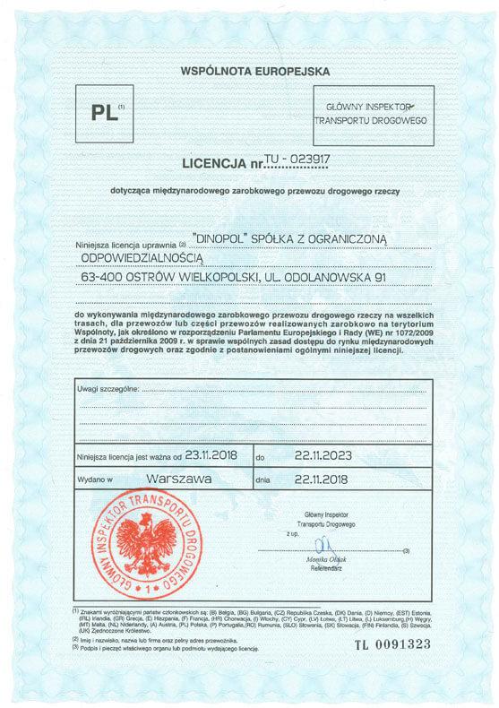 DINOPOL - licencja przewoźnika