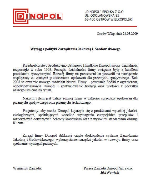 DINOPOL - polityka zarządzania jakością środowiska